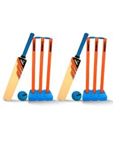 Summit Global 2Pk Summit Kid Plastic Cricket Set W/3 Stumps/Base/Bat/Ball - Junior