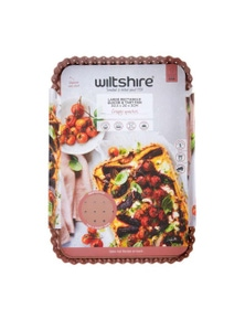 Wiltshire Non Stick Rose Gold Large Perforated Rectangle Quiche Pan 30x20cm