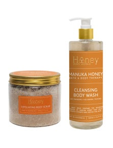 Honey Shower Gel and Body Scrub Duo