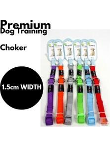 DOG TRAINING CHOKER Collar Martingale Adjustable Lead 1.5cm Width New