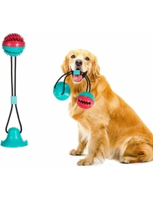 Dog Toy Suction Cup Self-Playing Rubber Ball Chew Food Dispensing Toothbrush