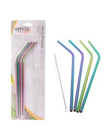Appetito Set 4 METALLIC Bent Rainbow Stainless Steel Straws + Cleaning Brush