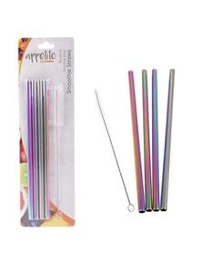 Appetito Set 4 METALLIC Rainbow Straight Stainless Steel Straws + Cleaning Brush
