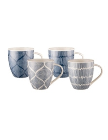 Bundanoon New Bone China Coffee & Tea Mugs Set 4 Indigo Sketch 518ml