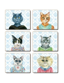 Cinnamon Cork Backed Coasters Set of 6 Lady Cat Luncheon