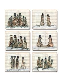 Cinnamon Cork Backed Coasters Set of 6 Mad Hatted Meerkats