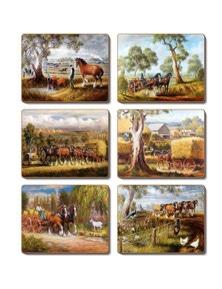 Cinnamon Cork Backed Coasters Set of 6 Working Horses