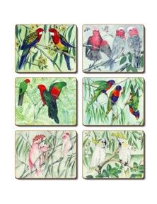 Cinnamon Cork Backed Coasters Set of 6 Australian Parrots