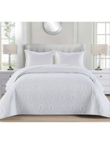 Benson Luxury Quilted Embossed Bedspread/Coverlet Queen/King Size White/Black