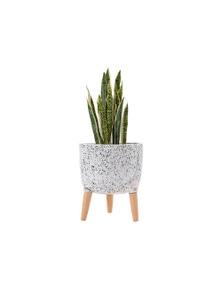Ladelle Modern Terrazzo Timber Leg Planter 33cm - White