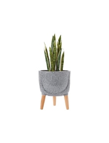 Ladelle Modern Terrazzo Timber Leg Planter 33cm - Charcoal