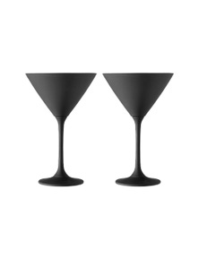 Ladelle Aurora Matte Black 2pk -Martini Glass