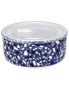 Ladelle Prep Microwave Food Bowl 16cm - Linear Blue Terrazzo