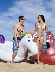 Good Vibes Giant Rainbow Unicorn Inflatable Pool Toy