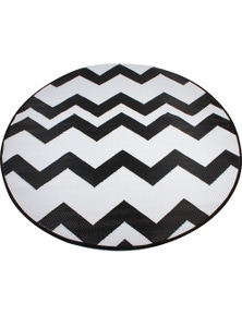 Good Vibes Round Zig Zag White Weatherproof Outdoor Pp Mat