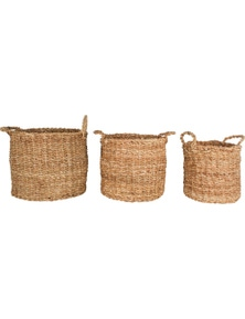 Seagrass Round Basket With Handle (Set Of 3)