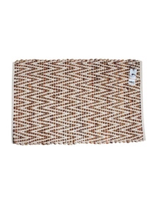 Cotton Leather Hand Knit Rug Chevron