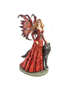 Large Red Fairy Princess with Black Wolf Figurine