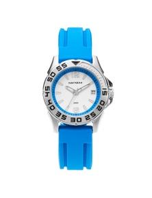 Maxum Apex Ladies Silver Blue Strap Watch