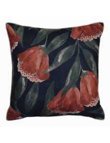 Drop Flower Navy-Rust Cushion
