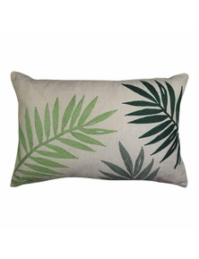 Palms Green Embroidered Lumbar Breakfast Cushion