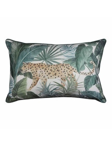 Jungle Leopard Teal Lumbar Breakfast Cushion
