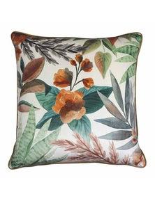 Succulent Velvet Orange-Green Cushion