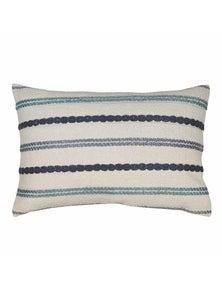 Nelson Blue-Green Stitched Stripe Lumbar Breakfast Cushion
