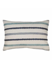 Nelson Blue-Green Stitched Stripe Lumbar Breakfast Cushion