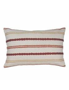 Nelson Red-Orange Stitched Stripe Lumbar Breakfast Cushion
