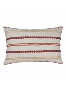 Nelson Red-Orange Stitched Stripe Lumbar Breakfast Cushion