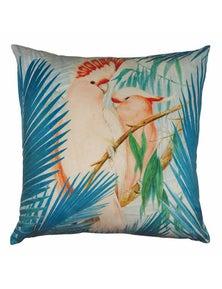 Pink Cockatoo Aqua Velvet Cushion