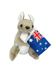 Jumbuck 16cm Kangaroo Plush - Flag