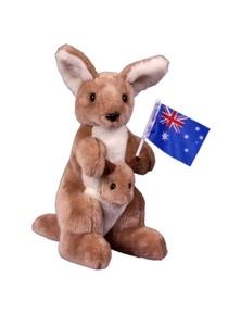 Jumbuck 26cm Kangaroo w/ Joey & Flag