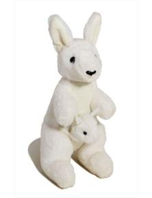 Jumbuck 26cm Kangaroo w/ Joey (White)