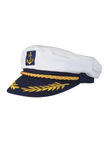 Black Ice Unisex Captains Hat - White And Navy