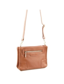 Pierre Cardin Italian Leather Cross-Body Bag /Clutch With Front Zip Pocket