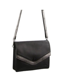 Pierre Cardin Italian Leather Cross-Body Bag with Flap over and twisting clasp closure