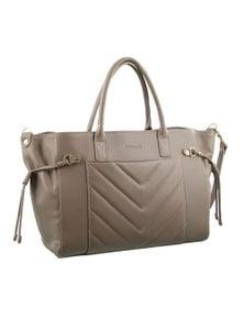 Pierre Cardin Italian Leather Tote Handbag front pocket Pleat design