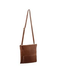 Pierre Cardin Italian Leather Cross-Body Bag With Pleat Detail