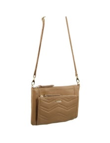 Pierre Cardin Italian Leather Cross-Body Bag/Clutch With Pleated Front Pocket