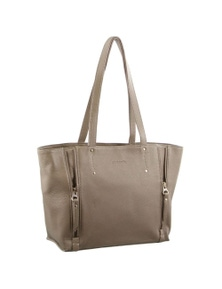 Pierre Cardin Italian Leather Tote Bag with Front Side Zips