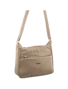 Pierre Cardin Nylon Slash-Proof 2 Front Zip Cross-Body Bag