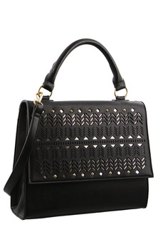 Milleni Metallic Flap Closure Black Tote Bag
