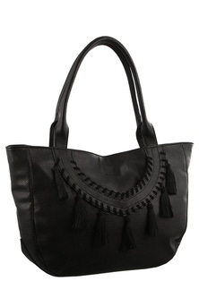 Milleni Tassel Design Black Tote