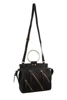 Milleni Zip Detail Black Cross Body Bag