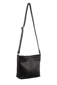 Milleni Leather Staple Black Cross-Body Bag