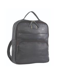 Pierre Cardin Leather Backpack Satchel Laptop Bag - Black