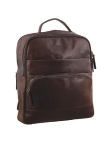 Pierre Cardin Leather Backpack Satchel Laptop Bag - Chestnut