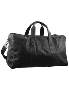 Pierre Cardin Rustic Leather Travel Bag Overnight Business Weekend Luggage Black